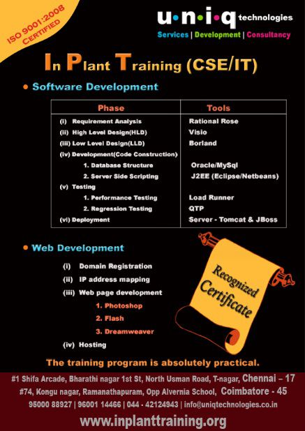 Inplant Training for CSE Students